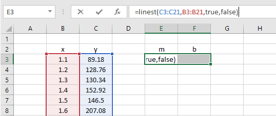 linear regression linest excel