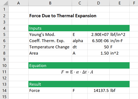 thermal expansion calculation excel