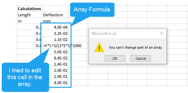array errors in excel