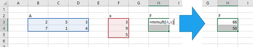mmult excel calculation