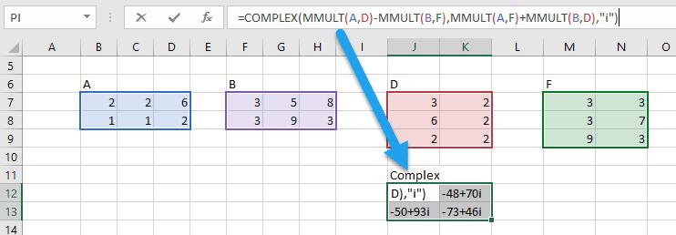 complex matrix multiplication excel