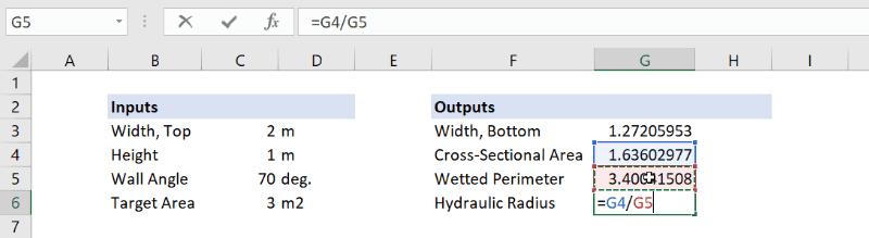 hydraulic radius formula excel
