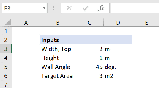 excel optimization inputs
