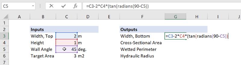 open channel bottom width excel formula
