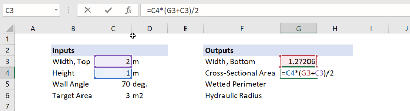trapezoidal cross-section area in excel