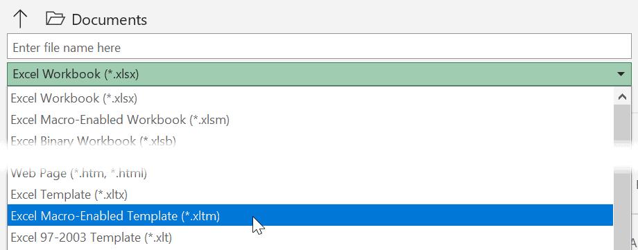 excel macro enabled template