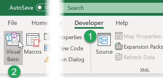 excel visual basic editor in developer tab