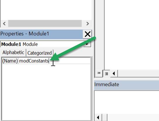 excel vba module name