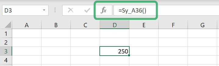 using custom excel function