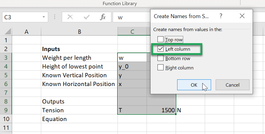 excel create from selection