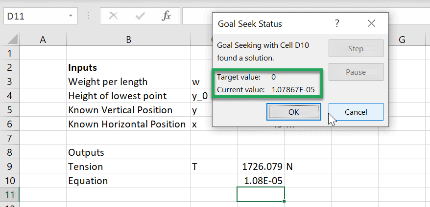 root finding result excel