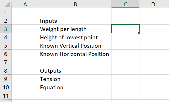 catenary cable tension in excel