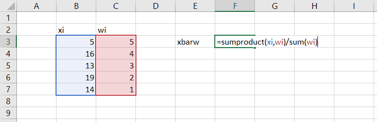 calculate weighted mean average in excel