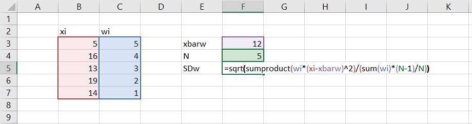 weighted standard deviation in excel