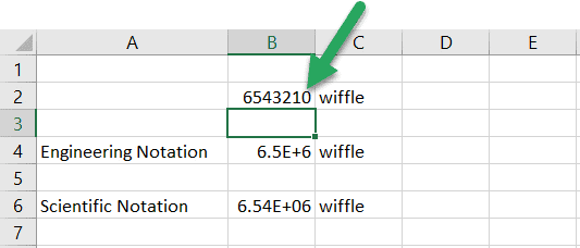 excel engineering notation